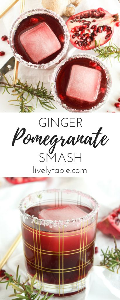 AD Pomegranate Ginger Smash is the perfect festive cocktail for the holidays. Made with real pomegranate juice and only 3 ingredients, this gorgeous cocktail is a fun and easy party drink! Sponsored by the Healthy Aperture Network and @JuiceCentral. | via livelytable.com