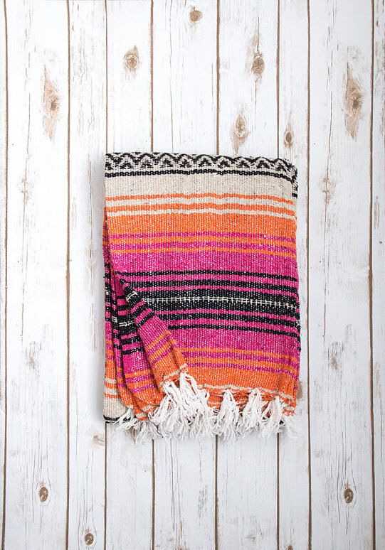 Hot Pink & Orange Mexican Blanket, Authentic Vintage Handwoven Bohemian Mexican Falsa Blanket, Mexican Beach Blanket, Mexican Yoga Blanket by LindsayMarcella on Etsy https://www.etsy.com/listing/250309907/hot-pink-orange-mexican-blanket