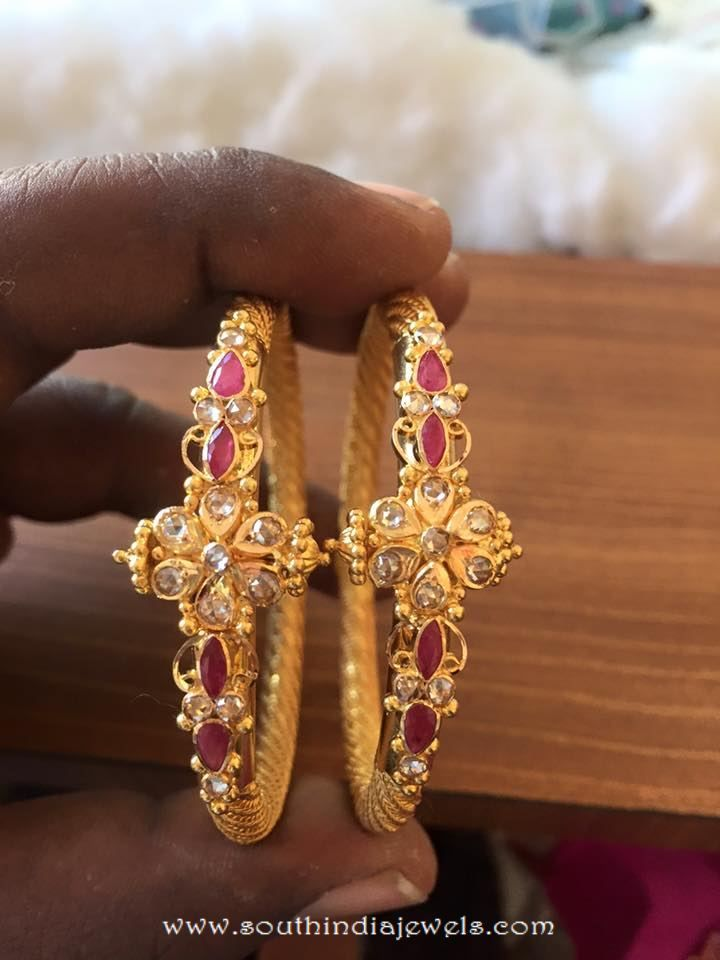 Gold Ruby Bangle From Veerabhadra Jewellery