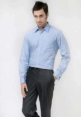 Solid Blue Formal Shirt Price: Rs.1295