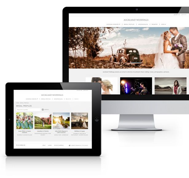 Auckland weddings is a new wedding directory site with a clean, innovative directory design & robust backend.  Little Giant designed the brand identity and website. The web design was intentionally minimalistic and clean, with a focus on the beautiful imagery posted by the vendors.  View more of Little Giant's work here: http://www.littlegiant.co.nz/portfolio/