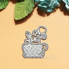 Metal Heart Coffee Cutter Dies Stencils Scrapbooking Album Paper Cards DIY Gift