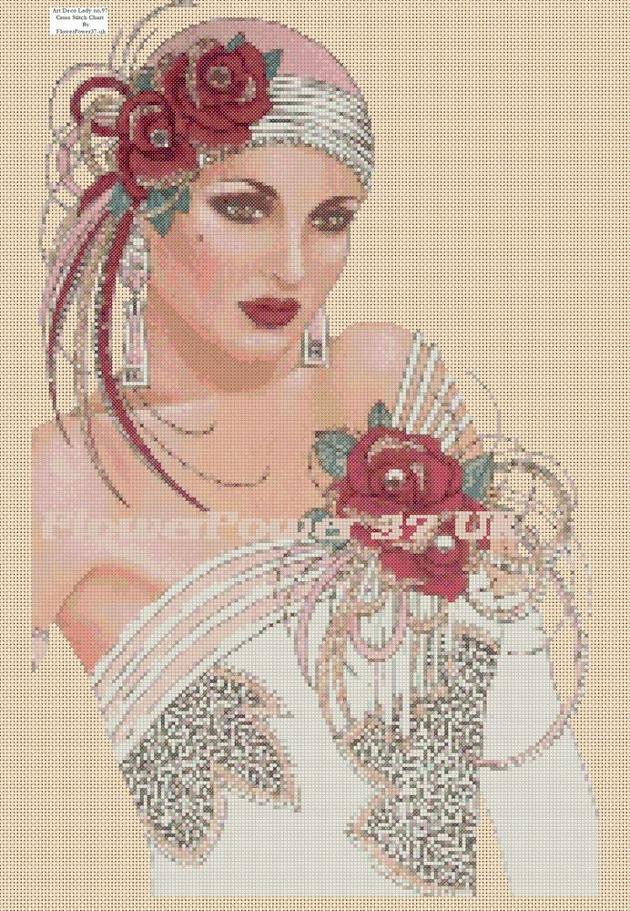 Cross stitch chart Art Deco Lady - No 97