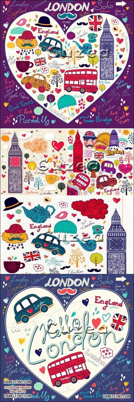 Путешествие в Лондон - векторный рисованный клипарт | Vector London