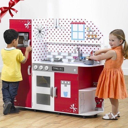 Kids Wooden Kitchen Role Play Cooking Pretend Creative Fun Toy Set Children Wood