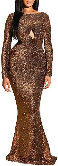 Remelon Women Long Sleeve Shiny Glitter Mesh Cut Out Bodycon Flowy Mermaid Party Maxi Long Dresses – Dresses