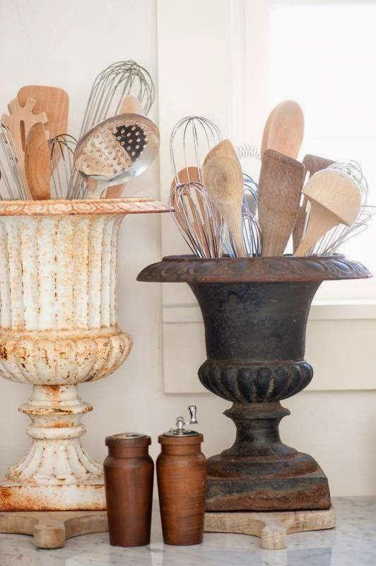 Using plant holders for kitchen utensils