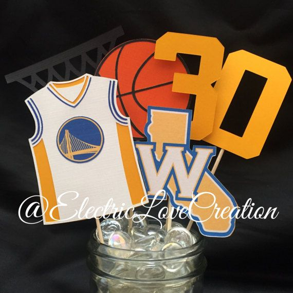 Golden State Warriors Centerpieces Set by ElectricLoveCreation #GoldenState #GoldenStateCenterpiece #GoldenStateWarriors