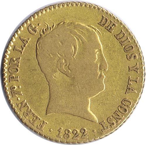 Moneda de oro 80 Reales Fernando VII 1822 Madrid. MBC.