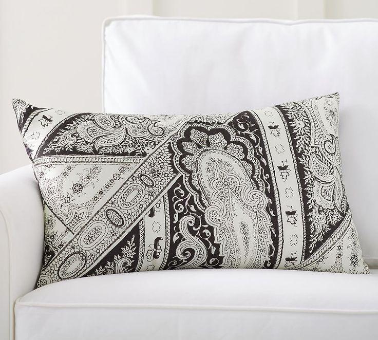 Demi Paisley Print Silk Lumbar Pillow Cover Pillows