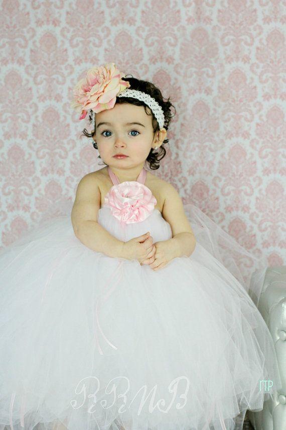 Blushing Beauty Flowergirl Tutu Dress   by RufflesRibbonsNBows, $75.00