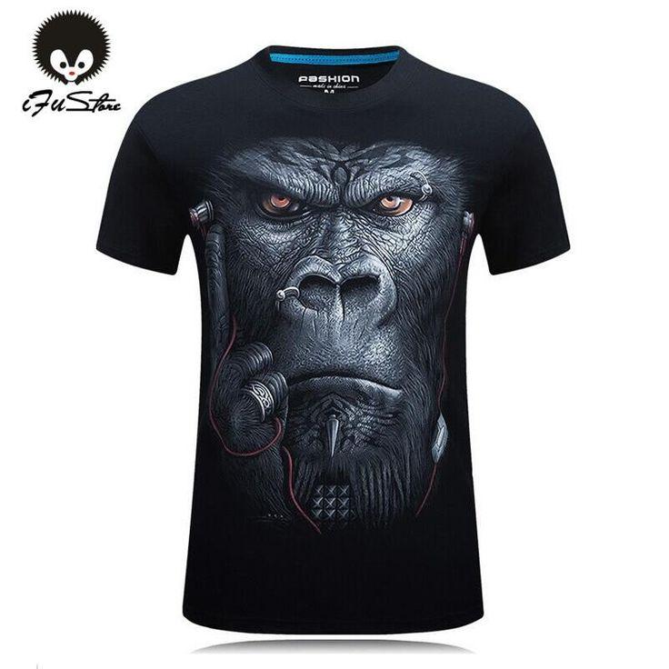 20 style T-shirt Mens Hot 2016 Summer Animal Snake Tiger Wolf Lion Printed  T-shirts Men Cotton Casual Brand T shirt