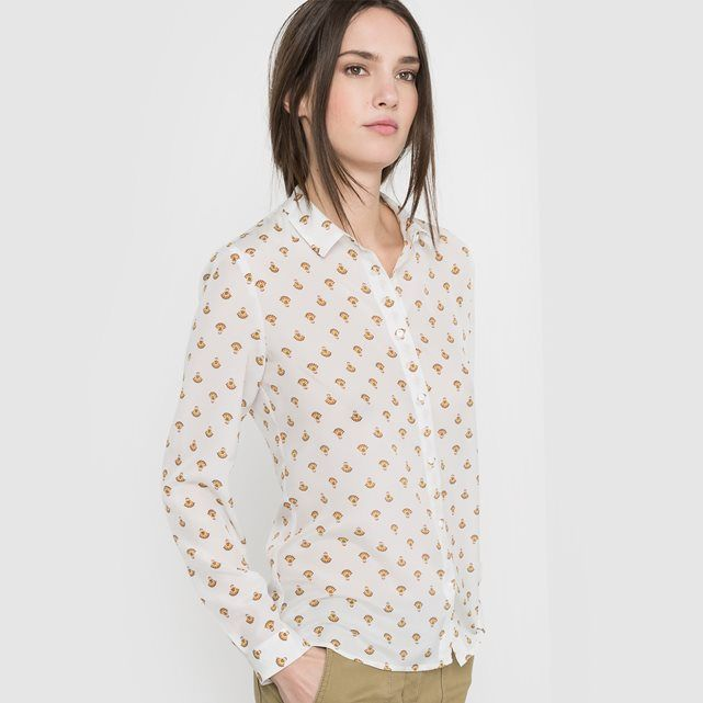 Silk shirt with stylish print. Shirt collar. Buttoned placket fastening. Long sleeves with buttoned cuffs. Length 65.5 cm.                   Fabric content and detailsFabric           100% silk         Brand           R  Essentiel          Care advice         Machine washable inside out at 30°C with similar colours  Do not tumble dry  Iron on reverse at low temperature