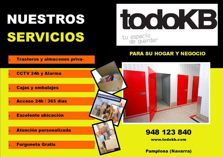 www.todokb.com alquiler temporal de trasteros y almacenes en Pamplona para particulares, empresas y autónomos.