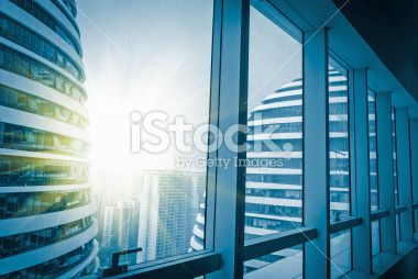 Modern building outside the window Royalty Free Stock Photo