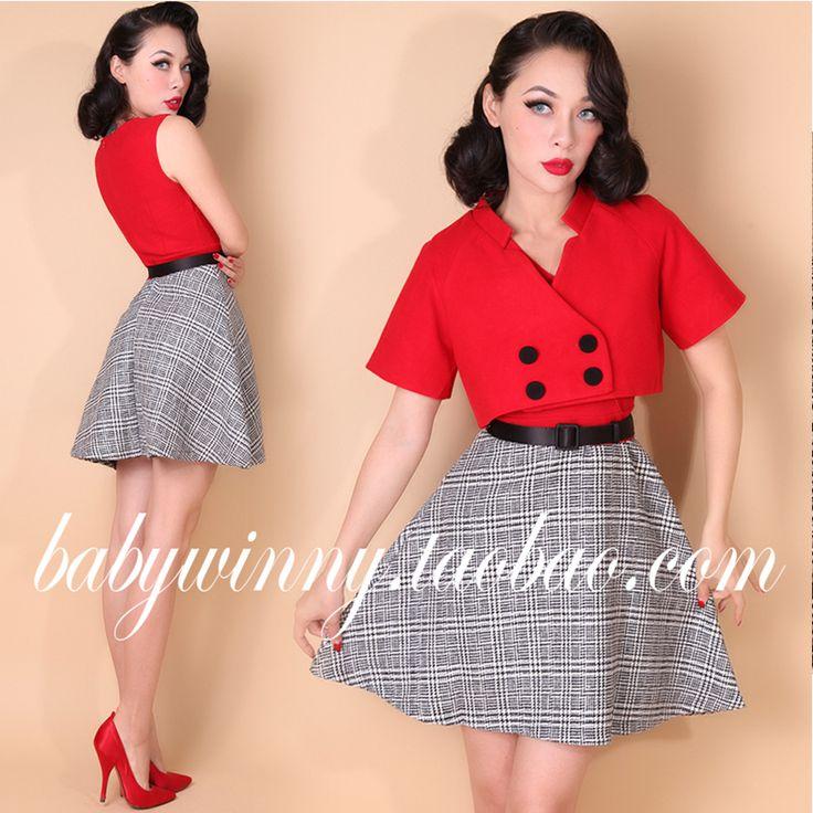 2015 outono nova elegante do Vintage jaqueta vermelha e vestido xadrez terno moda de manga curta de lã mistura 2 peça Set roupas femininas 0.8 em Conjuntos das mulheres de Das mulheres Roupas & Acessórios no AliExpress.com | Alibaba Group