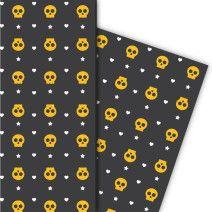 Cooles Halloween Geschenkpapier mit Herz und Knochen (4 Bögen 32 x 48cm), auf schwarz