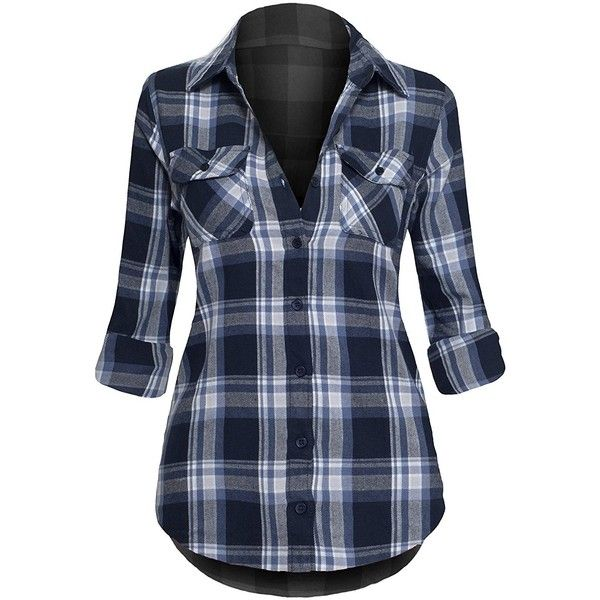 Women's Classic Collar Button Down Roll Up Long Sleeve Plaid Flannel... ❤ liked on Polyvore featuring tops, blue long sleeve shirt, plaid shirts, collared shirt, blue button up shirt and long-sleeve shirt