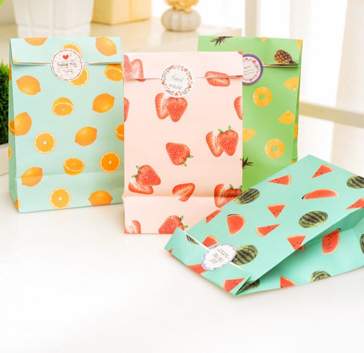 summer fruits paper bags