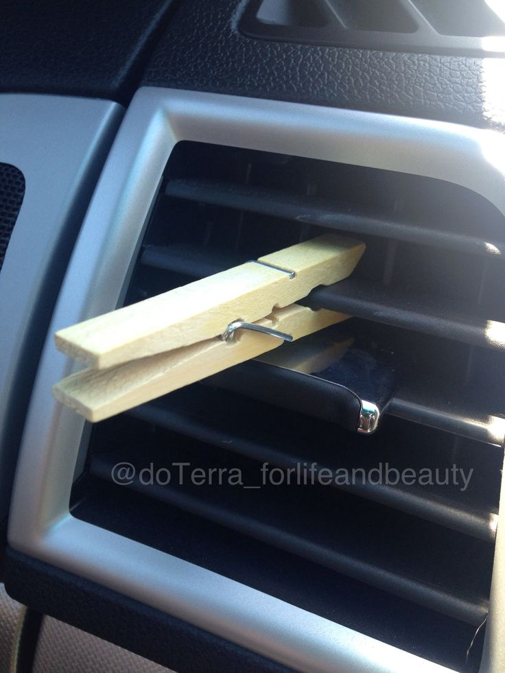 DiY car airfreshner with doTerra essential oils. Soak wood in water then add drops of you favorite doTerra oil to the clothes pin! Easy way to freshen your car and change scents as often as you want!  mydoterra.com/peacefulbodyandmind