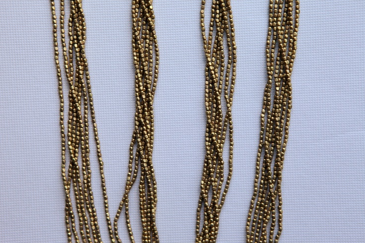 Nice and fine golden brass necklace.