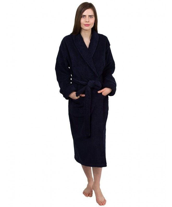 8f3aa4b569 Women s Organic Cotton Bathrobe Terry Shawl Robe Made in Turkey - Navy -  CR12G0R36VD