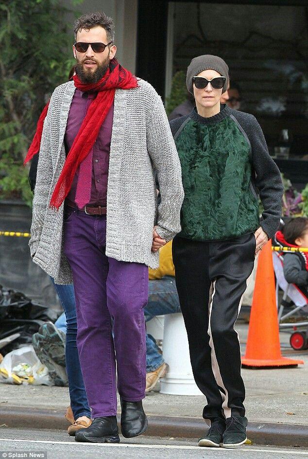 Tilda Swinton and Sandro Kopp taking a walk through NYC's East Village