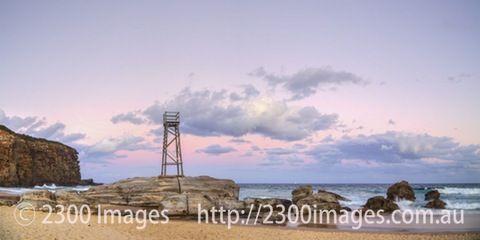 Redhead Beach Sunset. 2:1 Panorama. - Colourful sky. Redhead Beach at sunset. Lake Macquarie Beaches, NSW, Australia.