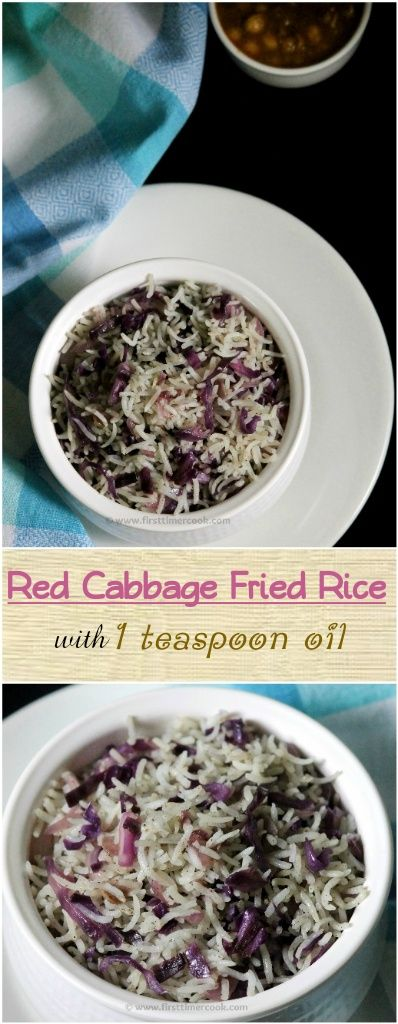 Red cabbage or purple cabbage or red kraut is a nutritious and delicious vegetable that has become very popular throughout the world for a number of reasons. Not only is it very good for the body, but it also adds flavor and flair to a wide variety of dishes. It grows easily and is edible both raw and cooked. Red cabbage fried rice tastes very delicious with very good flavors of tender crisp red cabbage and fried garlic. This recipe uses only 1 teaspoon of oil for preparation.