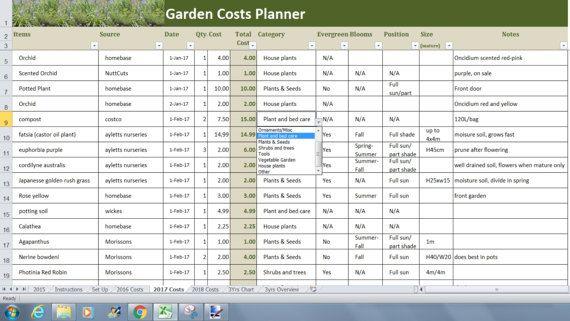 Garden Costs Planner Excel Template Garden Budget Tracker Etsy In 2021 Excel Templates Budget Tracker Budgeting