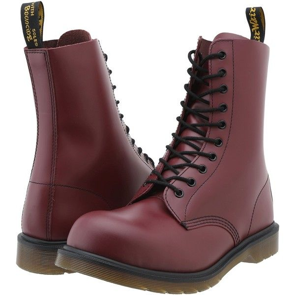 Dr. Martens 1919 Boots, Red ($100) ❤ liked on Polyvore featuring shoes, boots, mid-calf boots, red, lace-up platform boots, slip resistant work boots, lace up boots, steel toe boots and steel toe shoes