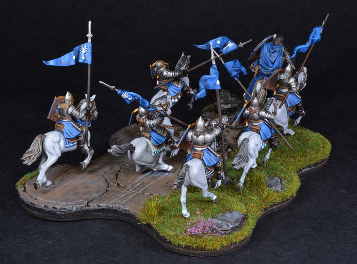 https://flic.kr/p/ECkQF2 | Farmir & Elite Minas Tirith Knights 2 | Farmir & Elite Minas Tirith Knights from the Lord of the Rings series of miniatures by Games Workshop with bombardment movement tray. Painted by BrushStroke