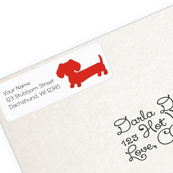 Red Dachshund Return Address Labels