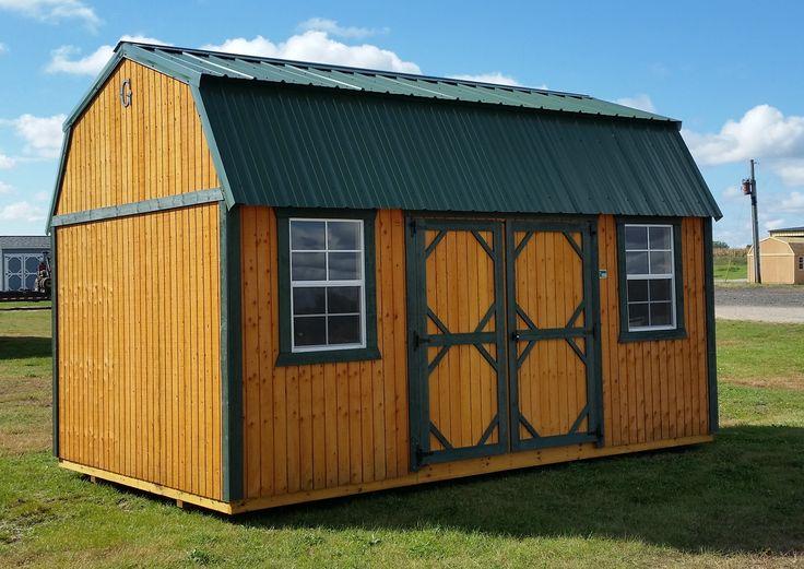 Grandview Buildings 10x16 Side Lofted Barn.  Green metal roof with matching trim.  Douglas fir siding with Honeygold stain.  Ridgevent.  We custom build!  Minnesota owned.  Minnesota made.  Minnesota nice!