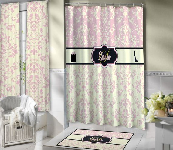 Fashion Shower Curtain, with Pink and Tan Damask...Very Elegant or Victorian!