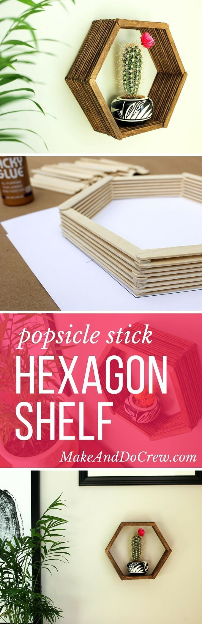 Add some mid-century charm to your gallery wall with this DIY wall art idea. All you need is popsicle sticks, glue and some stain to make this inexpensive home decor knockout. Click to see the full tutorial and download the hexagon template. | MakeAndDoCrew.com   via @makeanddocrew