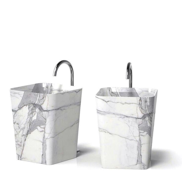 Serafini Marmi Cono free stanting washbasins in marble statuario, round corners for a soft look in your bathroom.