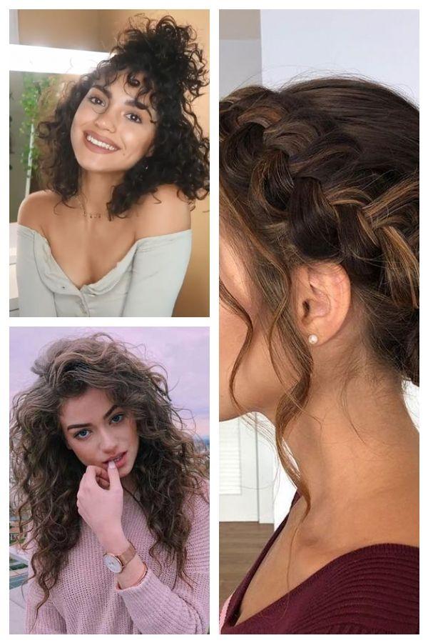 9 Different Hairstyles For Medium Length Curly Hair Easy Lockigefrisuren Curlyhairstylesvideos Curly Hair Styles Medium Length Curly Hair Easy Hairstyles
