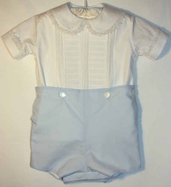 Boys Heirloom French Button On Suit Vintage Baby Clothes