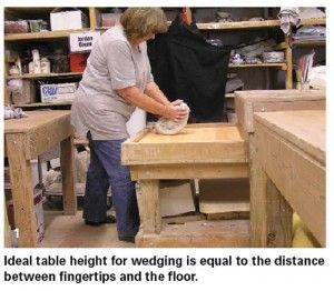Wedging table | Ideal table height for wedging is equal to the distance between your fingertips and the floor.