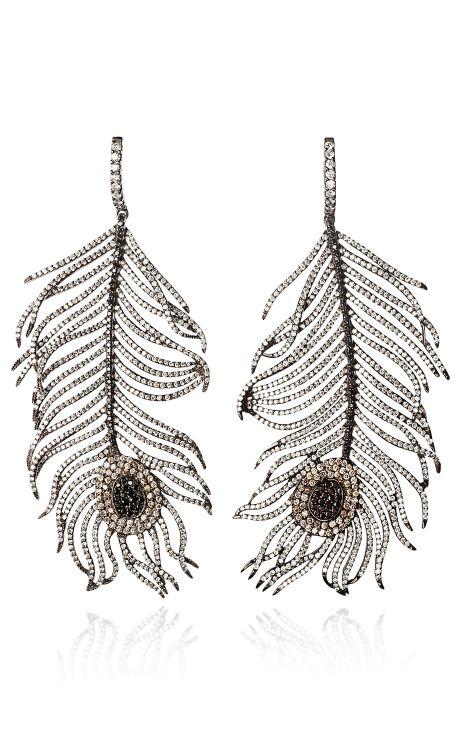 Nikos Koulis 18K Blackened Gold Diamond and Tsavorite Owl Earrings