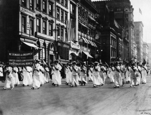 On October 23, 1915, 33,000 women marched down Fifth Avenue in New York City demanding the right to vote. The march was one of the largest women's suffrage marches in the United States, and lasted well into the evening. Women in America would get the right to vote in 1920 with the passage of the 19th Amendment.