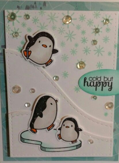 Mama Elephant...artic penguins stamp set. Neat and Tangled falling flakes stamp.