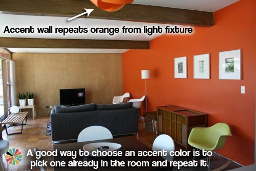 Love the colors. Also, advice on accent walls. I like the colors this girl picks for her 'retro ranch'