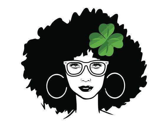 Afro WomanSaint Patrick Nubian Prinzessin Queen Afro Hair Schöne weibliche Dame SVG. EPS. PNG Vektor C