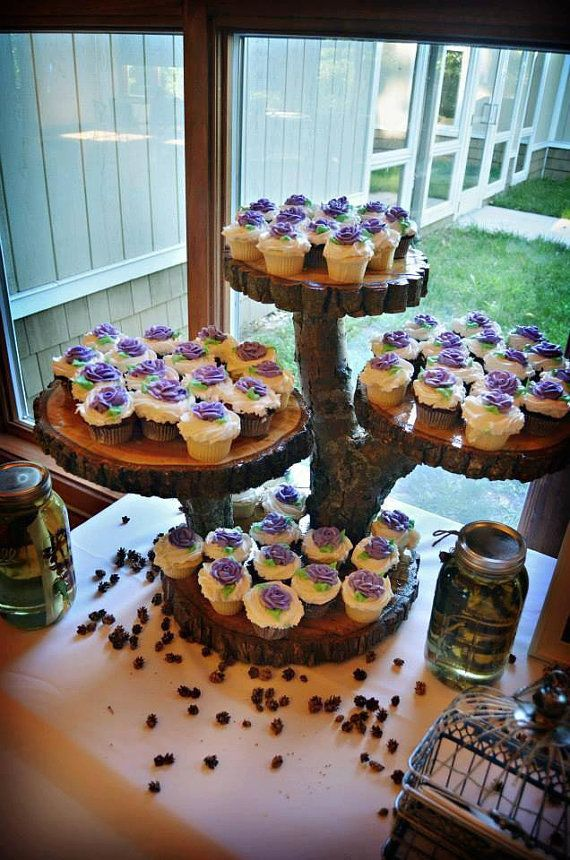 Wood Log Custom Rustic Cupcake Stand by RuffsRustic on Etsy, $200.00