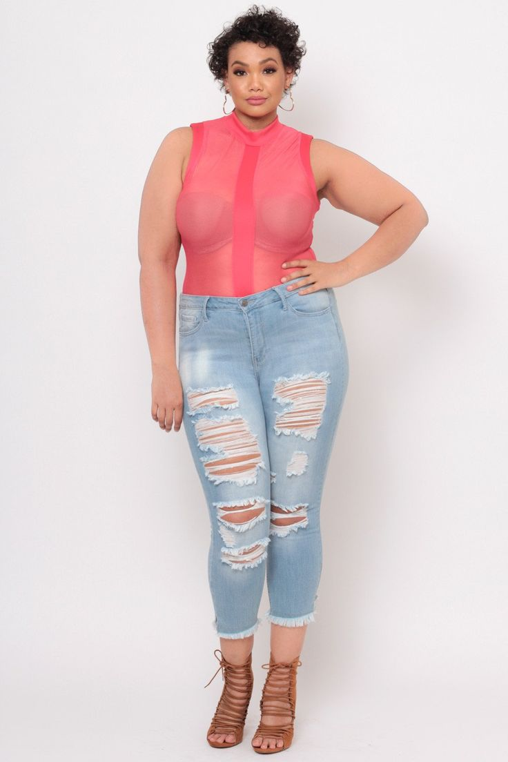#jeans #distressed #slashed #light #wash #denim #pants #casual #chic #trendy #plus #size #fashion #style