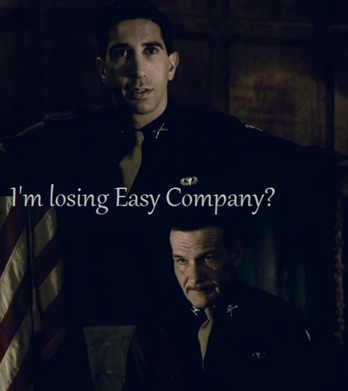 Sobel (David Schwimmer) and Colonel Sink (Dale Dye) <3 Currahee