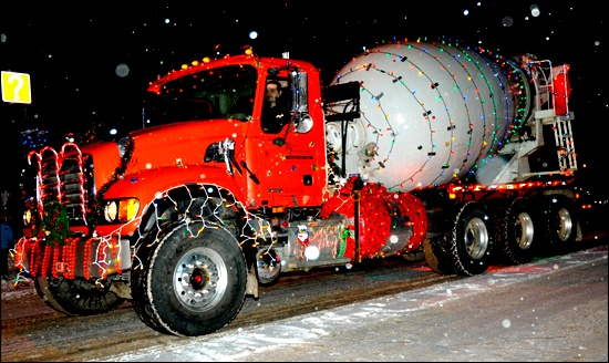 ready mix truck with Christmas lights