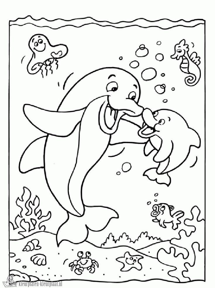 * Moeder en kind! - Coloring page dolphins